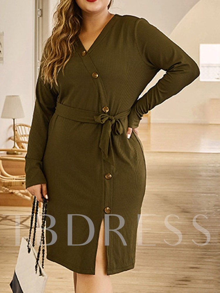 Plus Size V-Neck Knee-Length Long Sleeve Plain Women's Dress