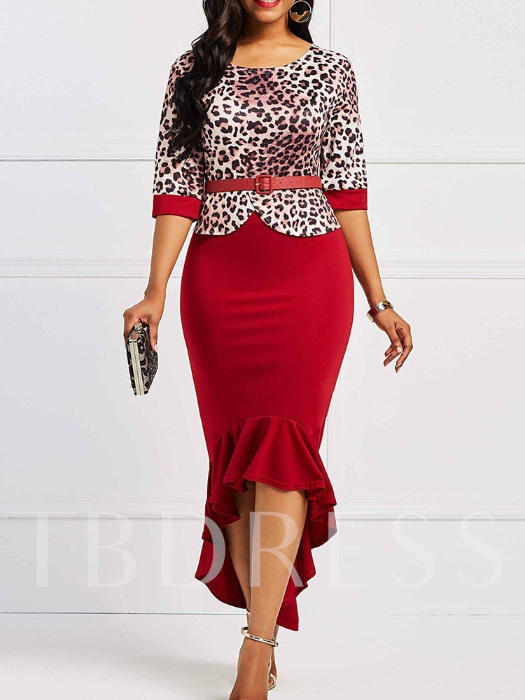 Asymmetric Ankle-Length Three-Quarter Sleeve Round Neck Leopard Women's Dress