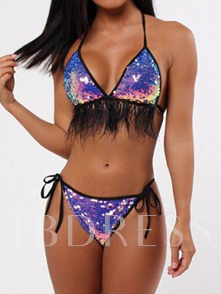 Bikini Set Sexy Sequins Color Block Tassel Women's Swimwear