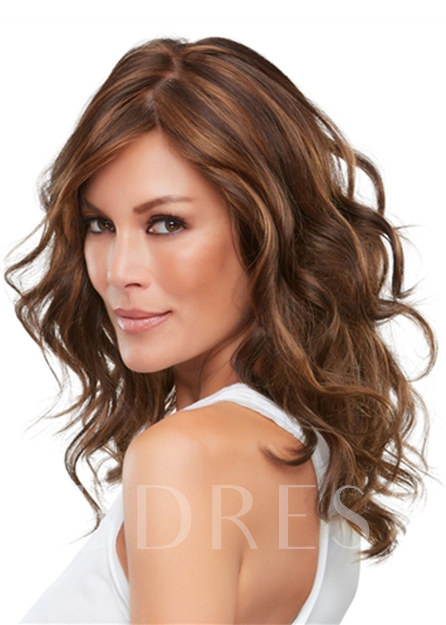 Topper Hairstyles Women's Lightweight Wavy Gorgeous Human Hair Wigs Lace Front Cap Wigs 18Inch