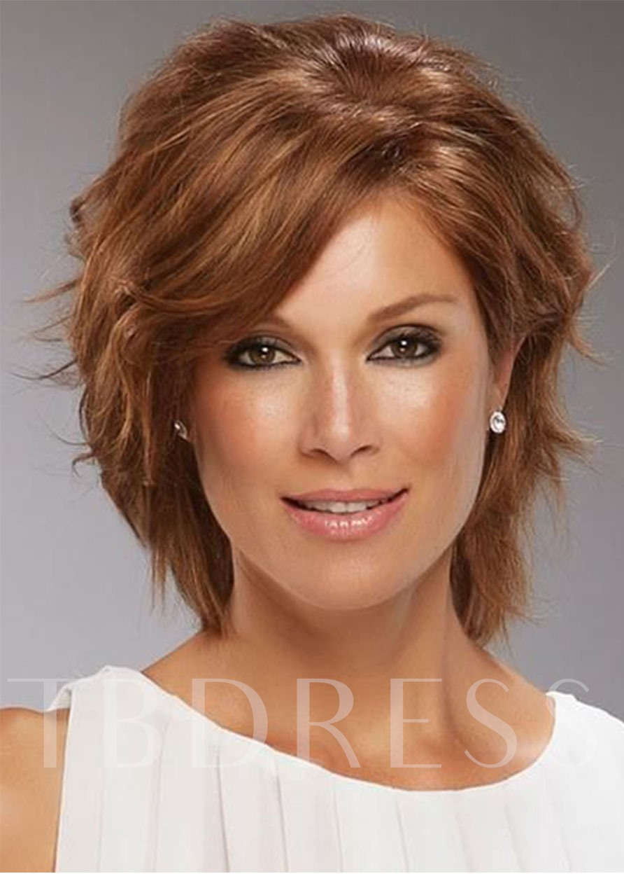 Short Shaggy Bob Hairstyle Wavy Capless With Bangs 12Inches Women's Synthetic Wigs