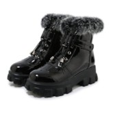 Patchwork Hasp Round Toe Fluffy Casual Ankle Boots