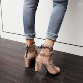 Chunky Heel Round Toe Back Zip Snake Skin Ankle Boots