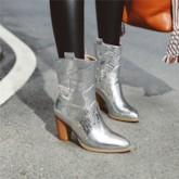 Metallic Slip-On Plain Chunky Heel Pointed Toe Ankle Boots