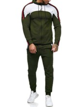 Casual Hoodie Color Block Men's Outfit