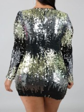 Plus Size Sequins Above Knee Long Sleeve V-Neck Sexy Women's Dress