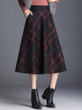 Color Block A-Line Mid-Calf Western Women's Skirt