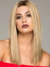 Ultra Natural Looking Women's Mid-length Hairstyles Straight 100% Remy Human Hair Lace Front Wig 16Inch