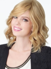 Shoulder Length Natural Layered Women's Wavy Human Hair Wigs Natural Hairline Lace Front Cap Wigs 14Inch