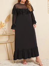 Plus Size Round Neck See-Through Mid-Calf Long Sleeve Plus Size Women's Dress