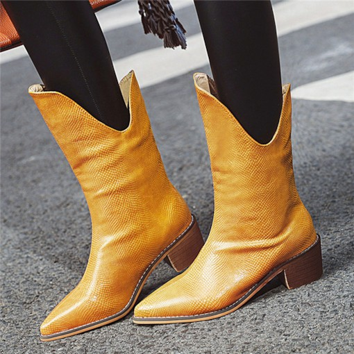 Slip-On Pointed Toe Vintage Fashion Mid Calf Boots