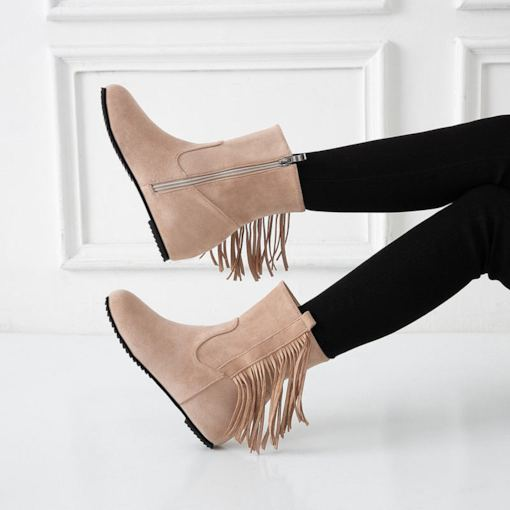 Side Zipper Plain Round Toe Fringe Booties