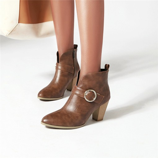 Side Zipper Plain Pointed Toe Buckle Western Booties