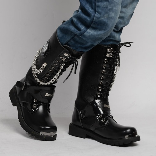 Round Toe Chain Lace-Up Front PU Men's Mid Calf Boots