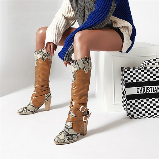 Round Toe Slip-On Patchwork Chunky Heel Knee High Boots