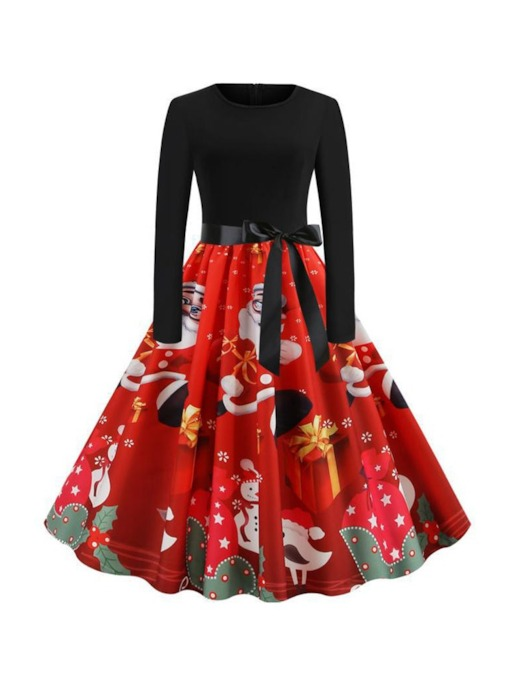 Christmas Pattern Round Neck Patchwork Long Sleeve Mid-Calf Regular Women's Dress