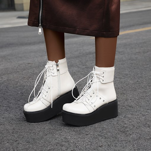 Round Toe Plain Side Zipper Platform Ankle Boots