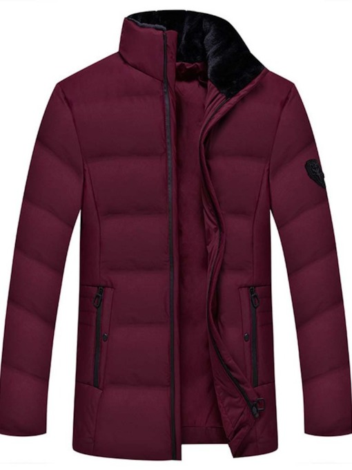 Mid-Length Plain Stand Collar Casual Men's Down Jacket