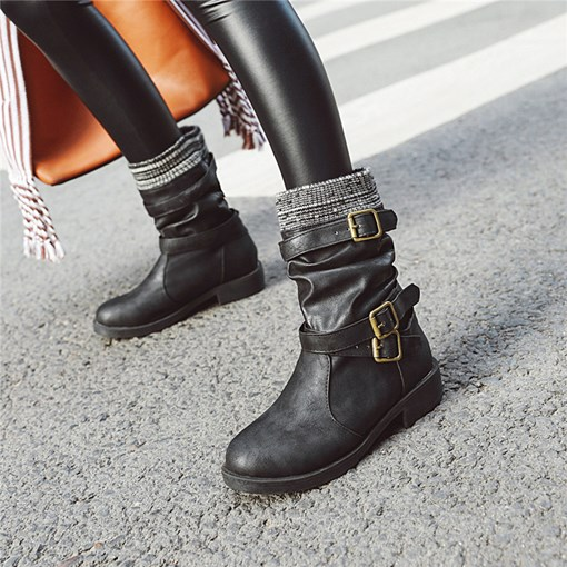 Hasp Round Toe Patchwork Buckle Vintage Ankle Boots