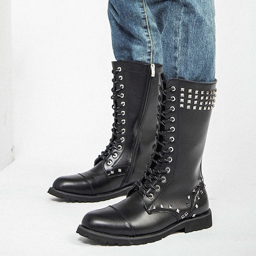 Round Toe Side Zipper PU Men's Mid Calf Boots