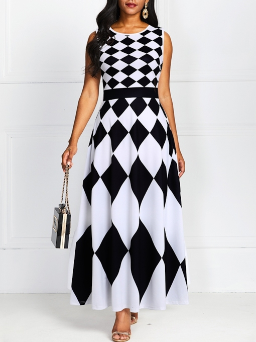 Print Sleeveless Round Neck Color Block Women's Maxi Dress