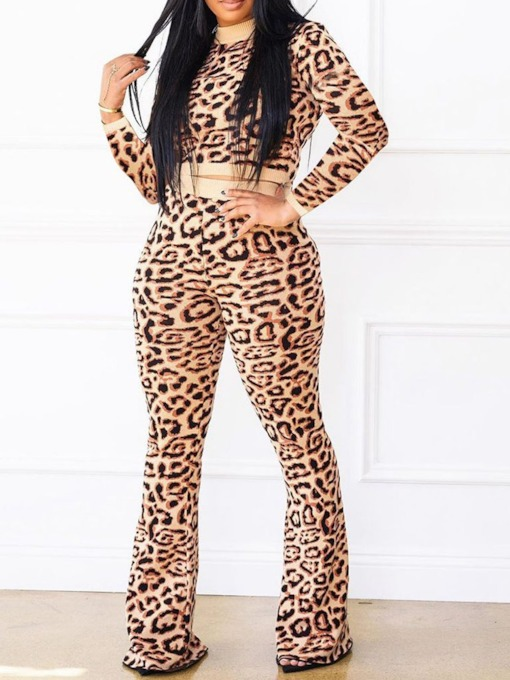 Casual Leopard Round Neck Women's Two Piece Sets