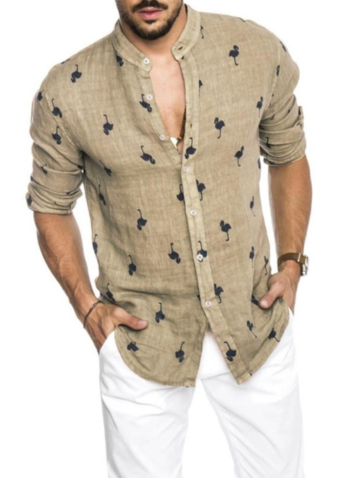 Animal Stand Collar Print Casual Single-Breasted Men's Shirt