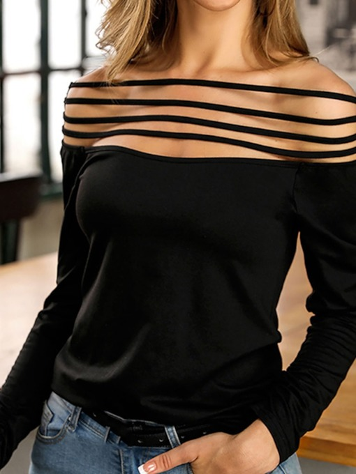 Plain Standard Long Sleeve Sexy Women's Shirt