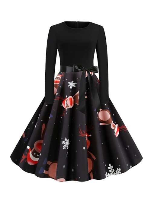 Christmas Pattern Mid-Calf Print Long Sleeve Round Neck Fall Women's Dress