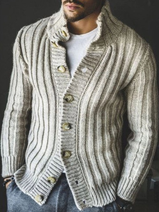 Plain Standard Button Fall Men's Sweater