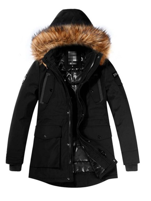 Mid-Length Hooded Zipper Men's Down Jacket