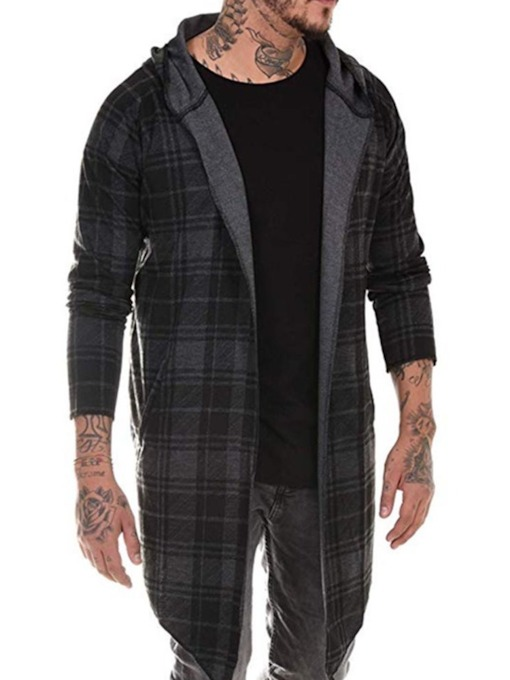 Hooded Long Plaid Loose Men's Trench Coat