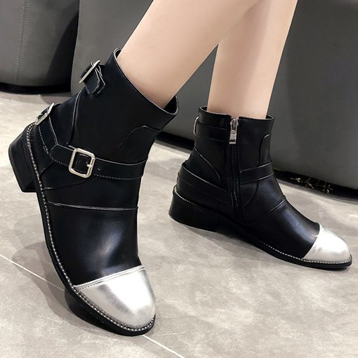Side Zipper Patchwork Round Toe Zipper Ankle Boots