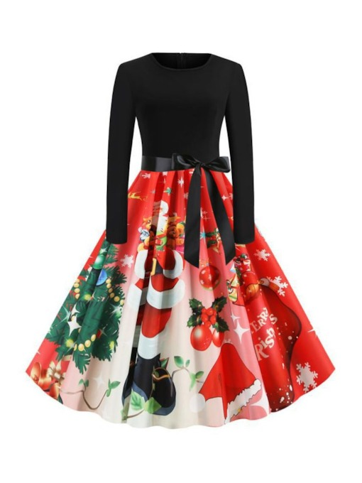 Christmas Pattern Patchwork Round Neck Mid-Calf Long Sleeve Cartoon Women's Dress