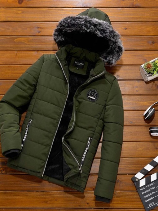 Hooded Mid-Length Plain Casual Men's Down Jacket