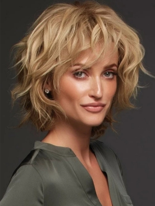 Women's Short Length Natural Straight Layered Luxurious Remy Human Hair Natural Looking Lace Front Wigs 10Inch
