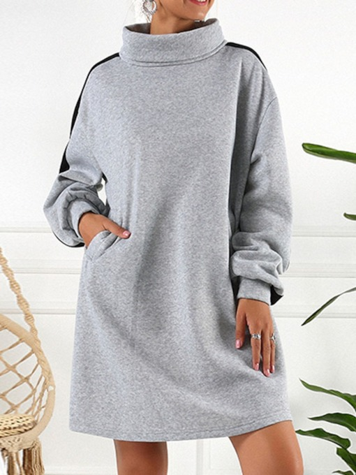 Long Sleeve Above Knee Patchwork Turtleneck Date Night/Going Out Women's Dress