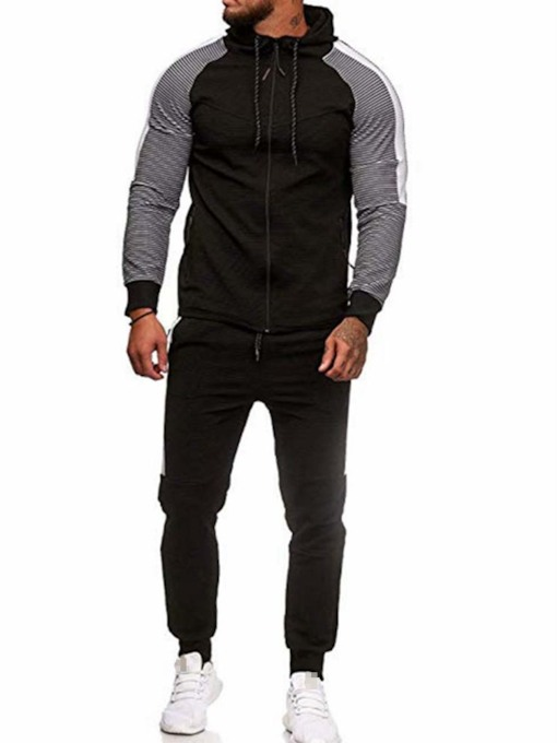 Casual Plain Hoodie Slim Men's Outfit