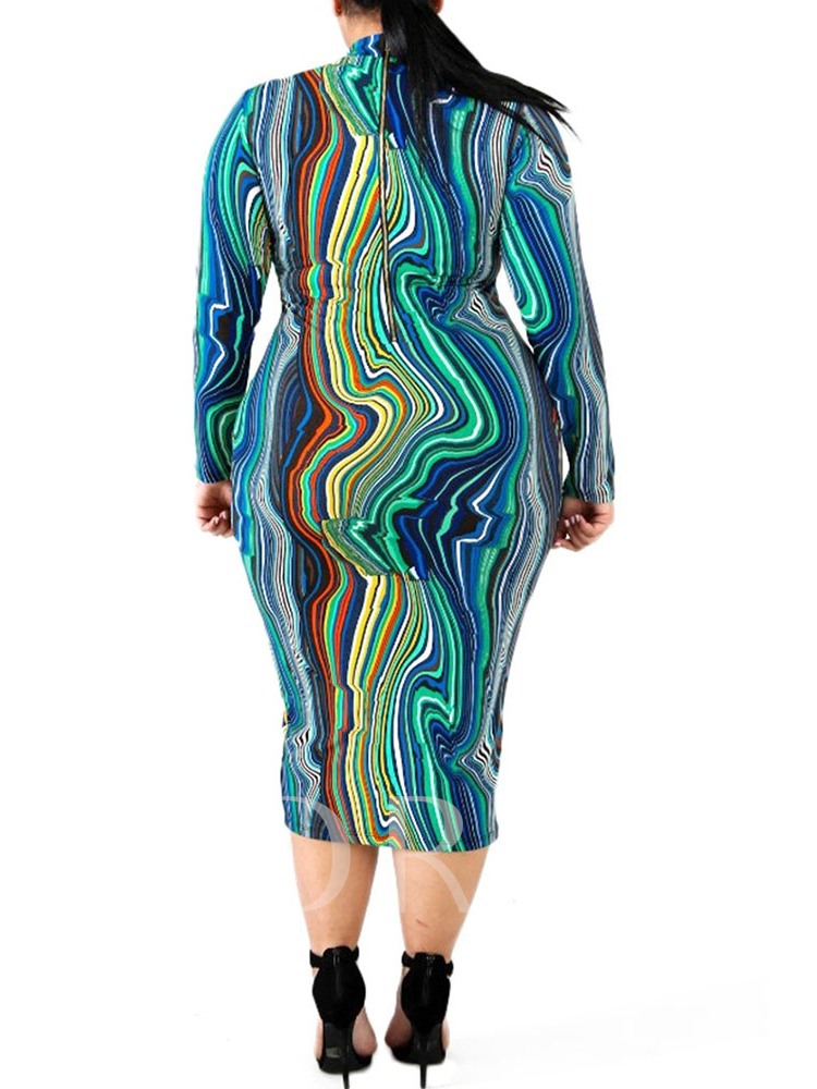Plus Size Stand Collar Print Mid-Calf Long Sleeve Sheath Women's Dress
