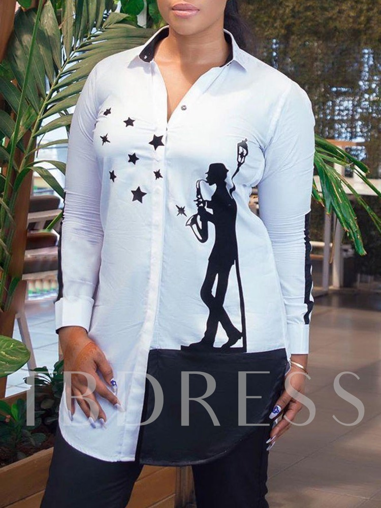 Star Regular Lapel Print Mid-Length Women's Blouse