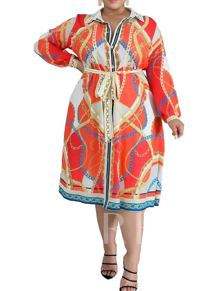 Plus Size Print Mid-Calf Long Sleeve Lapel Single-Breasted Women's Dress