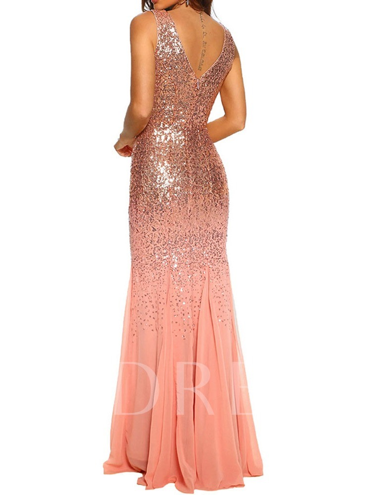 V-Neck Sleeveless Sequins Floor-Length Party/Cocktail Women's Dress