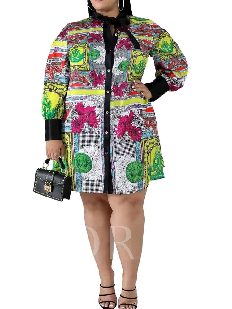 Plus Size Knee-Length Bow Collar Print Long Sleeve Single-Breasted Women's Dress