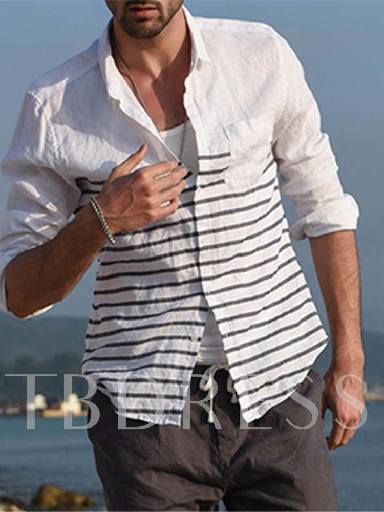 Casual Lapel Color Block Slim Men's Shirt
