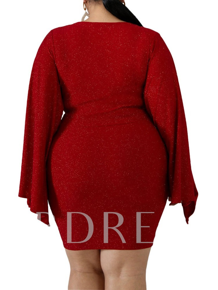 Plus Size Pleated V-Neck Long Sleeve Above Knee Bodycon Women's Dress