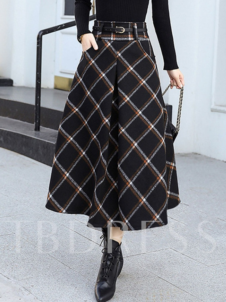 A-Line Mid-Calf Color Block Casual Pleated Women's Skirt