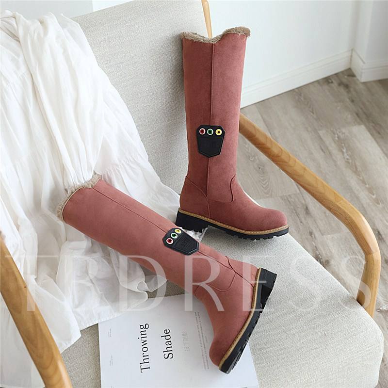 Round Toe Slip-On Casual Snow Boots Knee High Boots