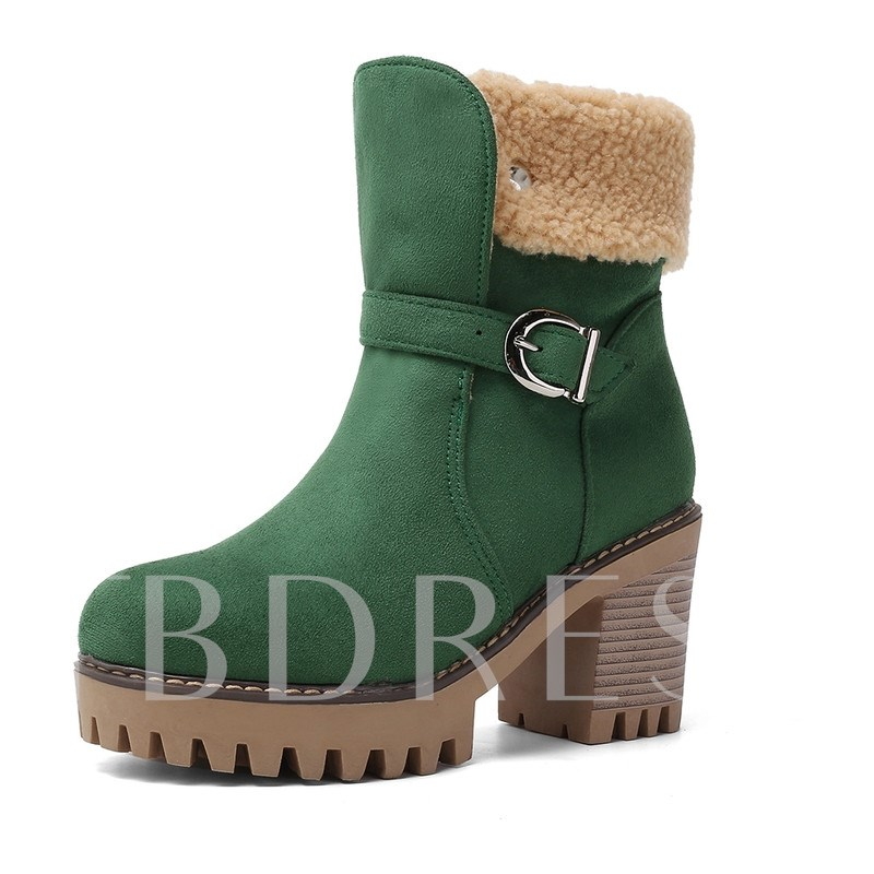 Chunky Heel Round Toe Hasp Casual Snow Boots