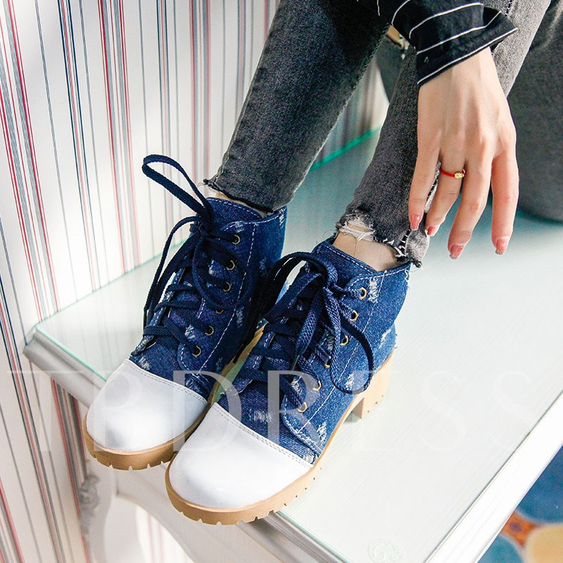 Denim Round Toe Color Block Lace-Up Front Ankle Boots