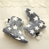 Round Toe Star Lace-Up Back Plush Winter Boots